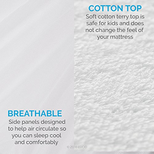 LUCID Premium Hypoallergenic 100% Waterproof Mattress Protector - 15 Year Warranty -...