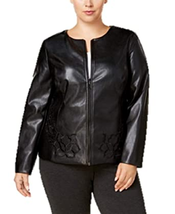 035896a7f03 Alfani Womens Plus Fall Faux Leather Cropped Jacket Black 0X at ...