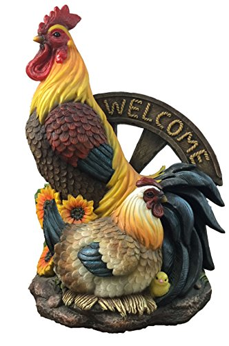 Rooster And Hen Country Style Welcome Statue by DWK | Dec...