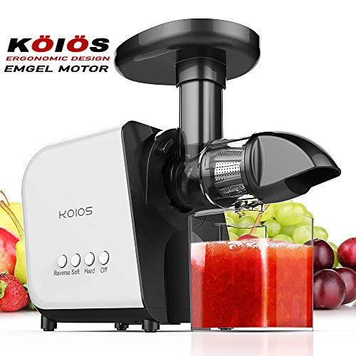 KOIOS Juicer, Slow Masticating Juicer Extractor with Reverse Function, Cold Press Juicer Machine with Quiet Motor, Juice Jug and Brush for High Nutrient Fruit and Vegetable Juice (Best Vegetable Juicer 2019)