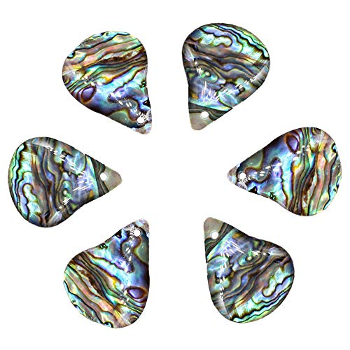 (QTMY 6 PCS Teardrop Pendant Charms for Jewelry Making in Bulk (Abalone Shell Pendant))