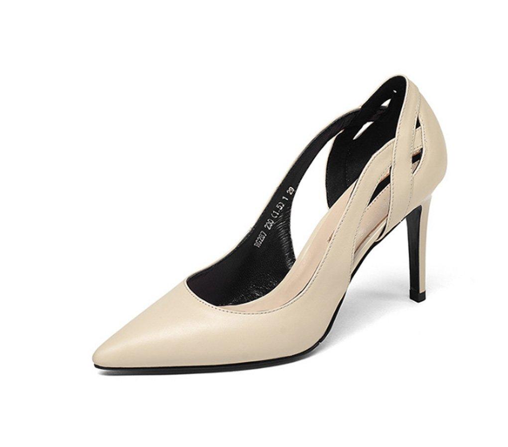 LGLFRXZ HJHY® Primavera y Verano Talón Fino Boca Baja Moda de Europa y América Zapatos de Mujer de Cuero Genuino Pointed Hollow High Heels Cómodo 34 EU|Beige