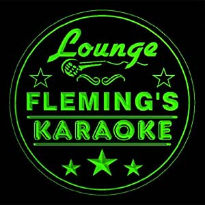 4x ccpk1258-g FLEMING'S Karaoke Lounge Bar Beer 3D Engraved Etched Coasters