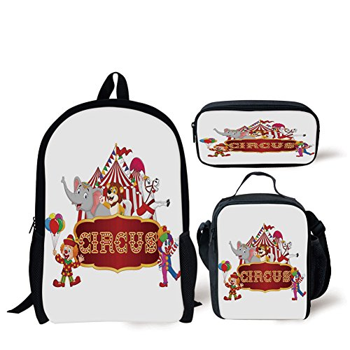 (iPrint School Lunch Pen,Circus Decor,Cute Happy Fun Trained Circus Animals with Nostalgic Tent Carnival Party Show Art,Red White,Bags)