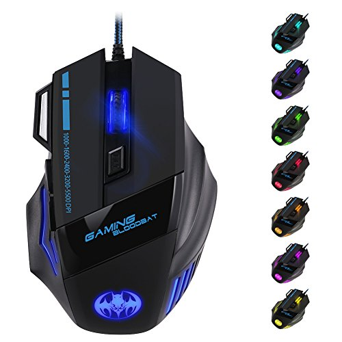 5500 DPI Optisch Gaming Maus 7 Tasten LED USB Game Mouse für Pro Gamer Schwarz
