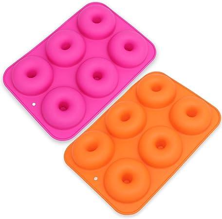 Resistentes al Calor Moldes de Silicona con Forma de Donut 2 Unidades para Hacer Magdalenas