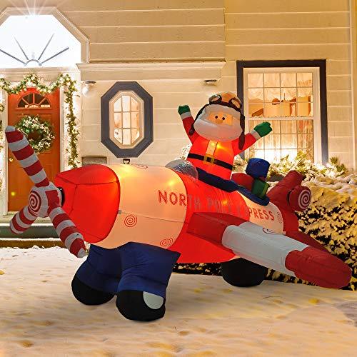 Festnight Outdoor Inflatable Christmas Santa, Animated Christmas Inflatable Pilot Santa in Propeller Plane Christmas Yard Decoration 8'