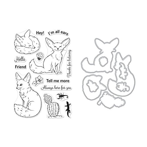 Hero Arts Clear Stamps and Frame Cuts Die Combo, Fennec The Fox by Hero Arts