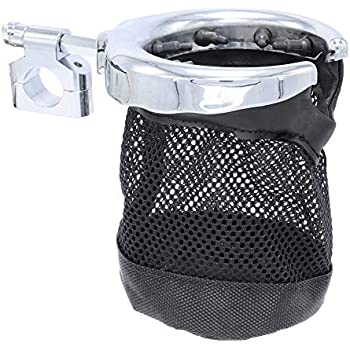 GDAUTO Motorcycle Handlebar Cup Holder Universal Metal Drink Basket Compatible for Harley Davidson (Chrome)