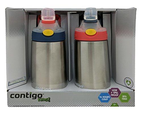 - Contigo Kids Flip Chill Stainless Steel Autospout Water Bottles - 14 oz-2 pack -Blue/Orange
