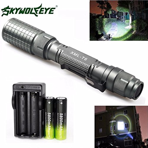 Wolf Eyes Flashlights - DEESEE(TM) Flashlight Zoomable 4000 Lumen 5 Modes CREE XML T6 LED Torch Lamp Light 18650&Charger