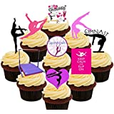 I Love Gymnastics Party Pack, Edible Cupcake Toppers - Stand-up Wafer Cake Decorations by Made4You