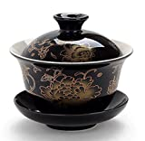 Moyishi Chinese Porcelain Gaiwan Black Peony Flower Tradition Sancai Tea Cup Tea Set Best Gift