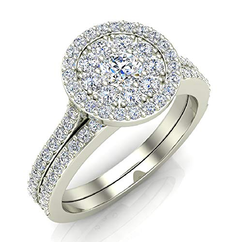 0.88 ct tw Illusion Solitaire Diamond Wedding Ring Set 14K White Gold (Ring Size 6)