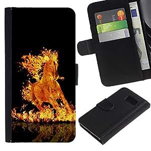 """Be-Star la tarjeta de Cr¨¦dito Slots PU Funda de cuero Monedero caso cubierta de piel Para Samsung Galaxy S6 ( Fuego Llamas Caballo Negro Ardiente Infierno Mustang"""" )"""