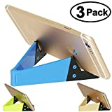 Cell Phone Tablet Stand, Honsky 3 Packs Universal Foldable Pocket-sized Plastic V Smartphone CellPhone Desk Holder Mount for Apple iPad Mini, iPhone, Android Samsung , Fluorescent, Blue, Light Yellow