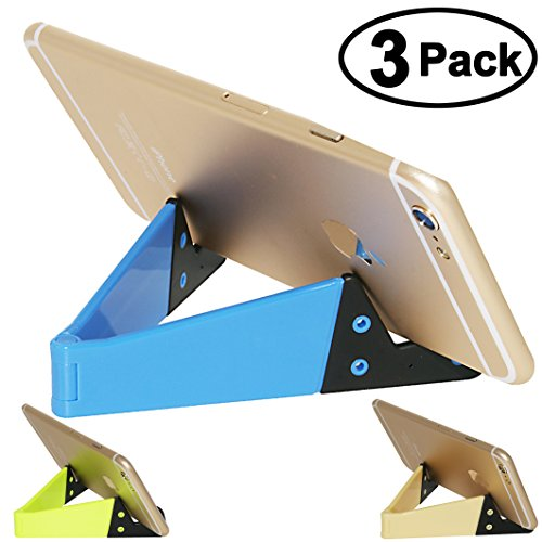 Cell Phone Tablet Stand, Honsky 3 Packs Universal Foldable Pocket-sized Plastic V Smartphone CellPhone Desk Holder Mount for Apple iPad Mini, iPhone, Android Samsung , Fluorescent, Blue, Light Yellow (Slim Multi Colored Cd)