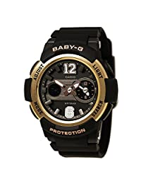 Casio BGA210-1B Women's Baby-G Sports Ana-Digi Black Dial Black Resin Strap Alarm Watch
