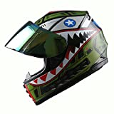 WOW Motorcycle Full Face Helmet Street Bike BMX MX Youth Kids Shark Army Green