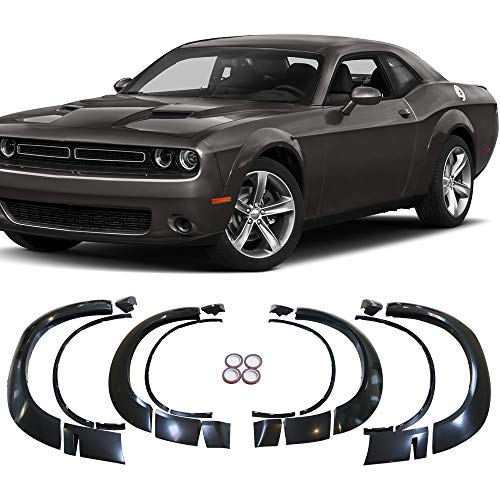Demon Style Body Kit - Fender Flares Fits 15-19 Dodge Challenger Base Model | Demon Style Unpainted Black PP by IKON MOTORSPORTS