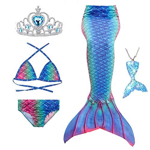 Swimmable Mermaid Tail Bikini Set 3pcs no Monofin Princess Dress Girls Kids Cosplay