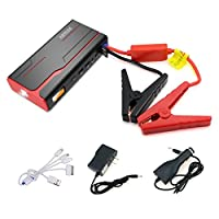 Arteck 600A Peak Car Jump Starter (Up to 7.0L Gas or 6.5L Diesel) Auto Battery Charger and 18000mAh Portable External Battery Charger for Automotive, Boat, Phone with Adaptors, 12V Jump Leads, LED