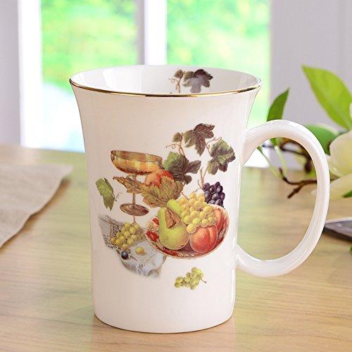 ufengke®Creative Cute European England Royal Luxury Bone China Tea Cup Ceramic Coffee Cup Mugs-Champagne And (Coffee Mugs Grapes)