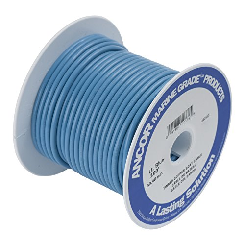 Ancor 101910 Marine Grade Electrical Primary Tinned Copper Boat Wiring (16-Gauge, Light Blue, 100-Feet)
