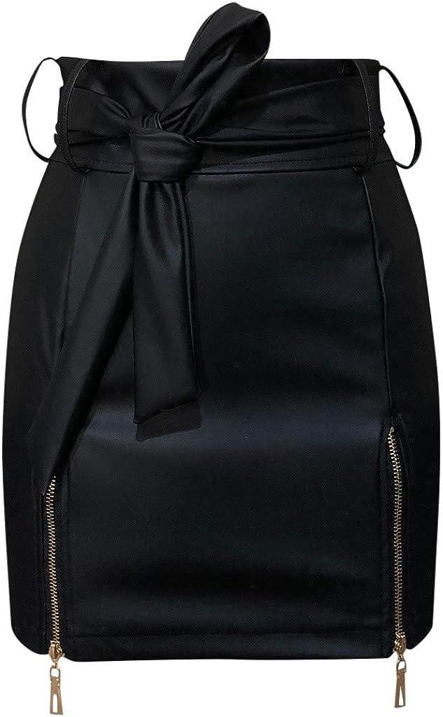 2020 Verano Mujer Delgada Sexy Falda Corta Cintura Alta Cremallera sólida Mini Falda Caderas Falda minifaldas sólidas Caliente