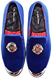 ELANROMAN Men's Velvet Loafers with Gold Plate Slippers Loafers & Slip-On Smoking Penny Loafers Shoes for Men Blue US 7 EUR 40 Feet Lenght 275mm