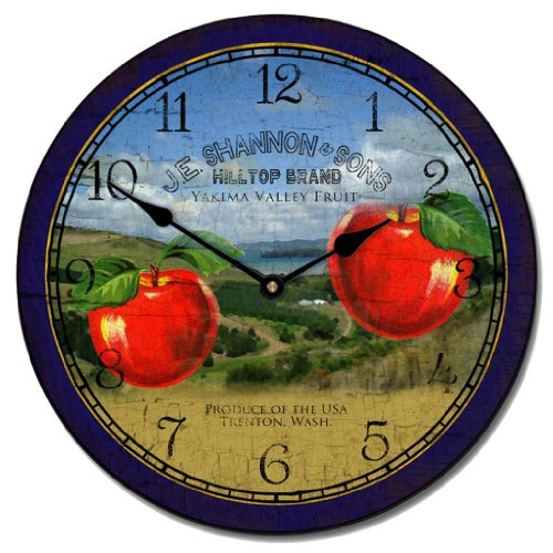 Washington Apple Wall Clock, Available in 8 sizes, Whisper Quiet, non-ticking