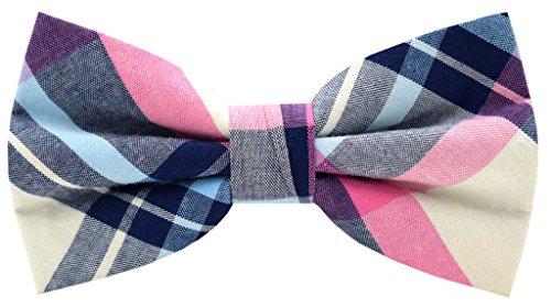 Carahere Mens 100% Cotton Color Plaid Adjustable Pre-Tied Bow Ties M054 ()