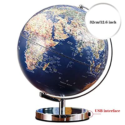 "WANGJIANGLI 2-In-1Illuminated World Globe Lamp- 12.6"" Geographic Globes with LED Light Desktop World Globe Discovery Educational World Globes for Kids: Home & Kitchen"