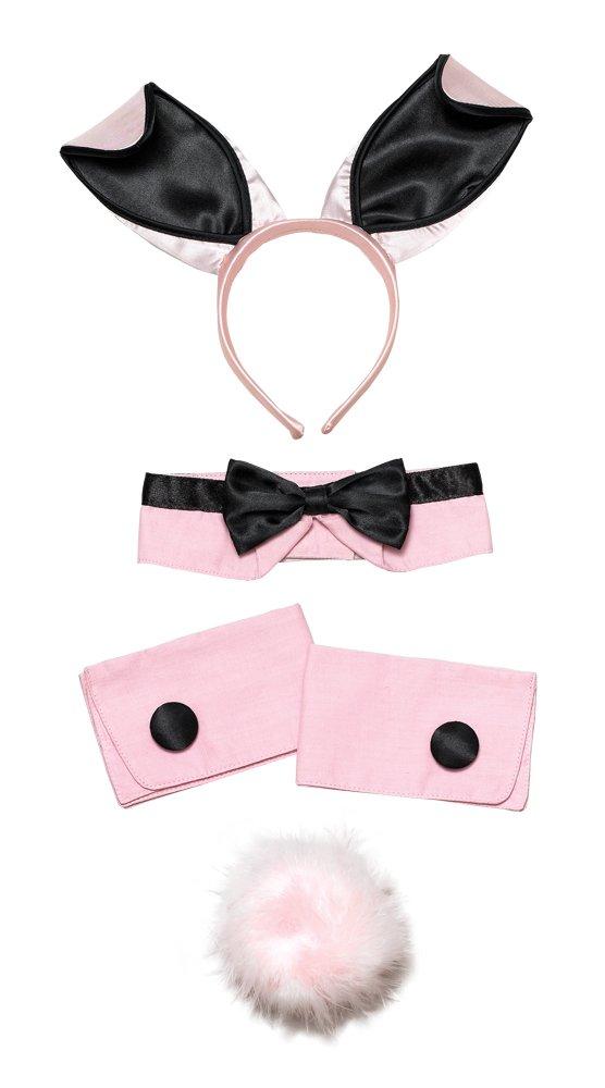 Black & Pink Bunny Girl Set Kit Play Boy Fancy Dress Costume Vicars & Tarts bristol novelty DS089