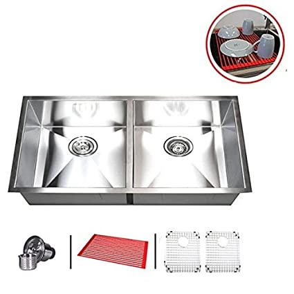 Contempo Living Inc 37u0026quot; Stainless Steel Double Bowl 50/50 Undermount  Kitchen Sink Combo