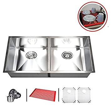 Marvelous Contempo Living Inc 37u0026quot; Stainless Steel Double Bowl 50/50 Undermount  Kitchen Sink Combo