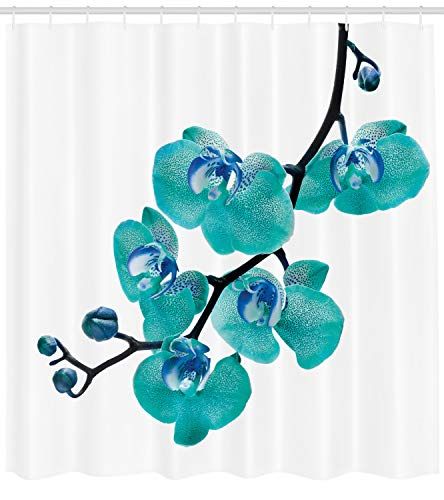 - Lunarable Aqua Shower Curtain, Blossoming Orchid Foliage Arrangement Spring Season Inspired Tropical Plant Theme, Fabric Bathroom Decor Set with Hooks, 70 inches, Aqua Blue Black