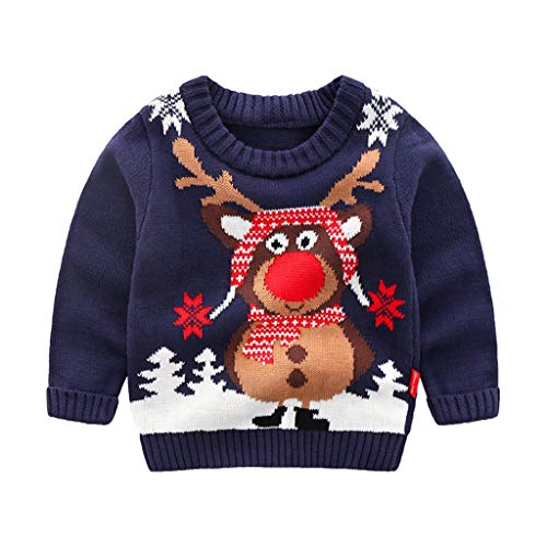 Wellwits Kids Christmas Tree Scarf Reindeer Snowflake Pullover Sweater Grey 90
