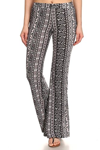 Paisley Print Bell - ShoSho Womens Flare and Palazzo Pants Bell Bottoms Wide Leg Spring Summer Flare Pants Paisley Print Mauve Large