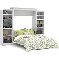 Bestar Versatile 115 Queen Wall Bed with 2 Piece Storage Unit in White