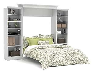 Bestar Versatile 115'' Queen Wall Bed with 2 Piece Storage Unit in White