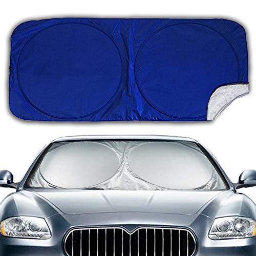 Windshield Sun Shade, Keep Vehicle Cool Protect Your Car Front Windshield from Sun Heat & Glare Best UV Ray Visor Protector (Size:63