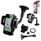 Window Suction Mount & Holder fits iPhone 5s, iPhone 5c, iPhone 5 with Otterbox Defender Case on it.. Rotates 360 degrees and has quick release button. Also has optional vent clip and mounting disc for dash mount.