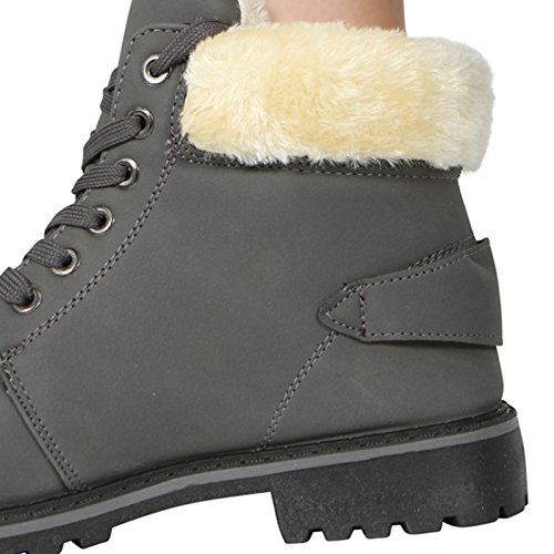 COLLAR WOMENS ANKLE FUR 3 SIZE BOOT LACE Grey WINTER 8 UP LADIES WARM LINED 1qqwEUF