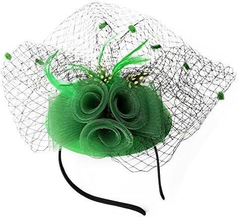 Coolwife Fascinator Womens Pillbox Chapeau Britannique Bowler Chapeau Fleur Voile De Mariage Chapeau Tea Party Chapeau