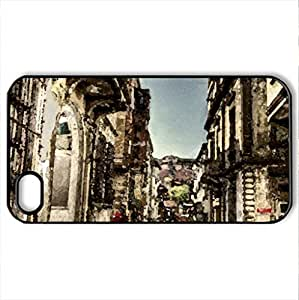 balat - Case Cover for iPhone 4 and 4s (Houses Series, Watercolor style, Black)