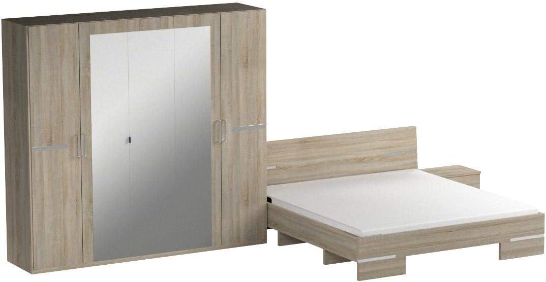 Eiche S/ägerau bestehend aus einem Bett und zwei N/ächtschr/änken Wimex Schlafzimmer Set Anna Liegefl/äche 180 x 200 cm