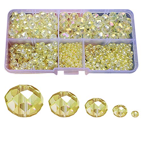 w Rondelle Glass Beads for Jewelry Making AB Colour 710pcs Faceted Briolette Shape Crytal Spacer Beads Assortments Supplies for Bracelet Necklace with Elastic Cord Storage Box ()
