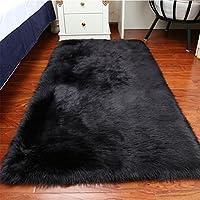 YJ.GWL 4ft x 6ft Soft Faux Fur Rug Black Sheepskin Area Rugs Bedroom Bedside Floor Smooth Fluffy Rugs Silky Plush Carpet Anti-Slip Shaggy Rug