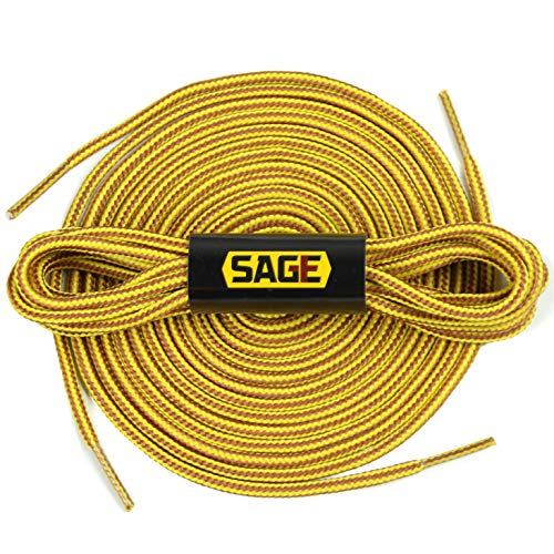 [SAGE] Round Shoelaces, Work Boot Replacement Laces (Gold/Tan - -